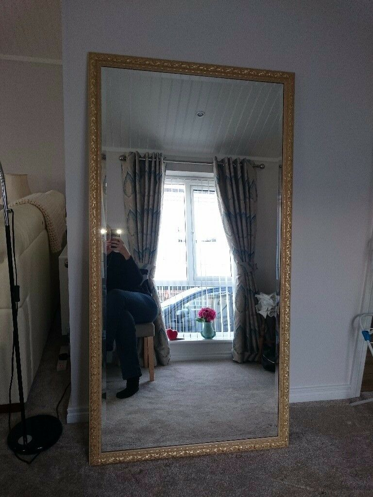 "Large Gold Mirror - 33"" x 63"""