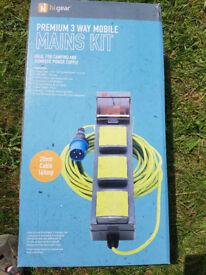 Hi Gear premium three socket mobile mains kit - 20m
