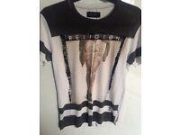 Religion White / Black Printed T-Shirt (Men's Small) £5