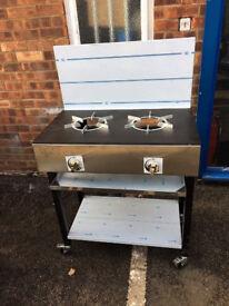 2 Burner Natural Gas Cooker Solid Top Plate