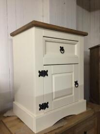 Cream an pine bedside tables