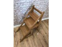Solid oak step ladder chair clearance stock