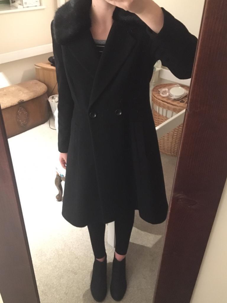 Women's Black Coat Size 10-12 (RRP £249)