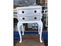 White and silver 2-drawers table / bedside
