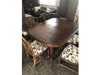 Mahogany antique dining table - crank mechanism