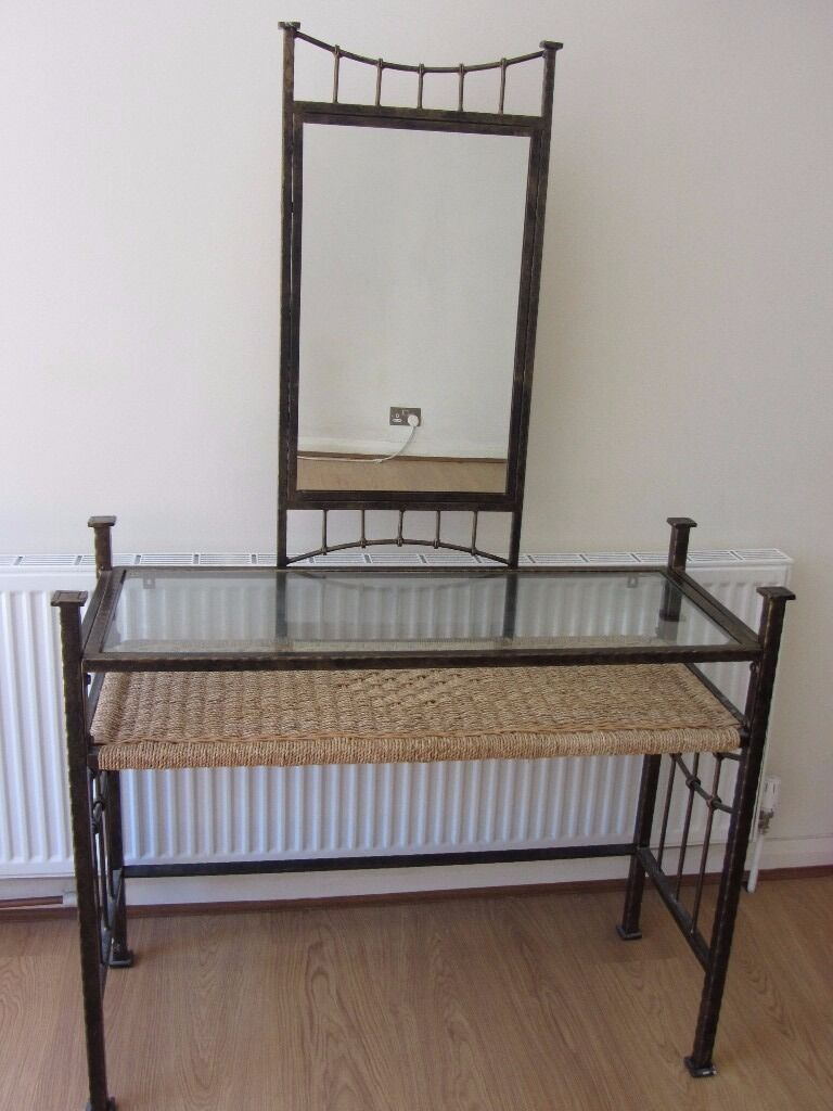 Dressing Table Wrought Iron With Glass Top Mirror And