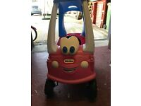 Pink little tikes cosy coop car with foot plate