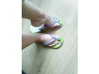 Well worn Havianas flip-flops