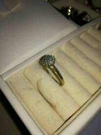 old 9ct gold cluster ring