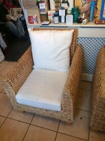 Pair of conservatory wicker chairs