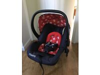 Cosatto Hold 0+ car seat and base, rain cover, pushchair adapters and newborn insert