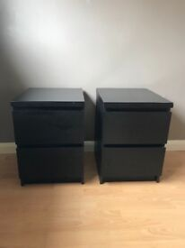 2x Black 2-drawer Bedside Tables