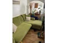 Large green sofa + free armchair and foot stool