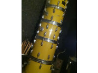 Rodgers 1970s vintage Big 8 piece twin bass drum shell pack drum kit.