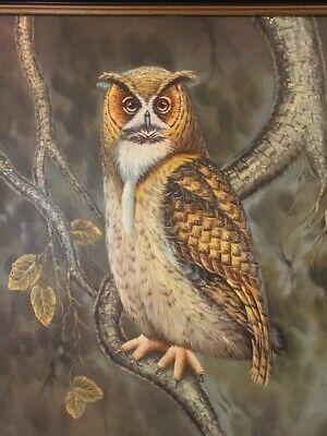 Original Bert Seabourn Vintage Owl Oil Painting On Canvas