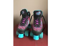 Rio leopard size 3 roller skates and bag