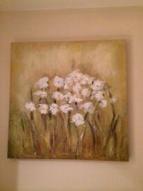 Beautiful texturised painting of white flowers