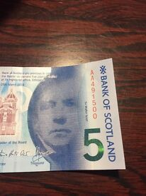 £5 note. Bank of Scotland AA