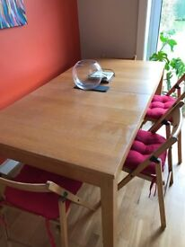 Oak coloured wooden table & 8 chairs