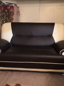 Brown and cream leather sofa