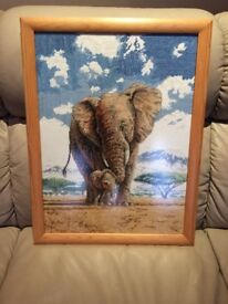 Elephant & Baby cross stitch - framed