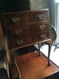 Lovely vintage walnut three drawer console table