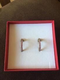 Pink stone hoop earrings
