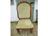 Classic,Antique,Walnut,Traditionally Upholstered, Bedroom Chair.