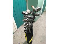 Set of golf clubs including bag