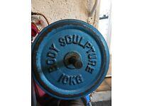 "Cast iron weight plates for 1"" bar: 25kg, 10kg, 5kg, 2.5kg"