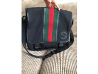 GUCCI black canvas & leather large messenger bag satchel Used twice As new
