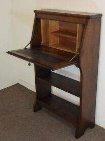 SOLID GOLDEN OAK SLIM VINTAGE WRITING BUREAU DESK FREE DELIVERY EDINBURGH GLASGOW TAYSIDE FIFE AREA