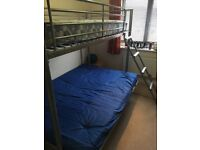 Metal Bunk Bed Frame With Single Mattress and Double Futon In Blue