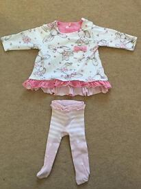 Next 0-3 months baby girl dress / top and tights set / outfit