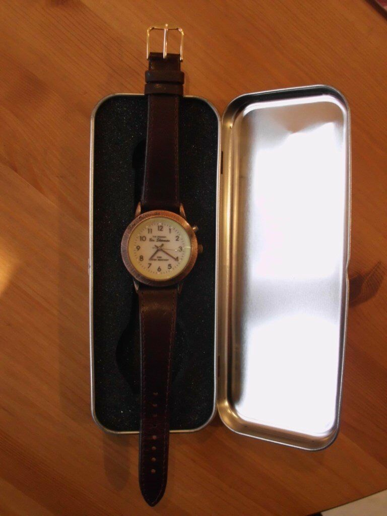 BEN SHERMAN MEN'S WATCH. BACK-LIT FACE. BROWN LEATHER STRAP. IN ORIGINAL BOX.