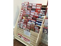 Greeting Card Stand, wood, 1 metre