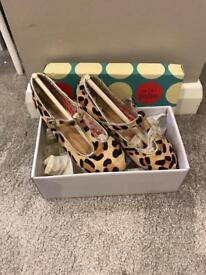 Girls Boden leopard print T bar shoes