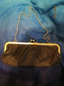 BLACK GLITTER HANDBAG WITH SILVER CHAIN STRAP BY BARRETTS BRAND NEW WITH TAGS
