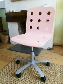 Pink wooden IKEA desk chair