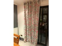 Red and grey patterned curtains