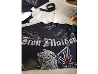 A selection of Iron Maiden t shirts