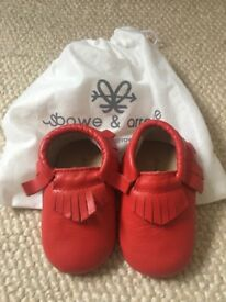 Baby/toddler leather moccasins, red, 12-18months