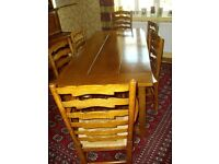 Beautiful large oak refectory table and six chairs