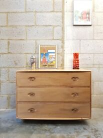 Vintage Ercol Blonde Chest of Drawers Mid Century