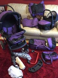 Travel system- pram, car seat, carry cot and accessories