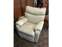White/off white leather electric reclining armchair