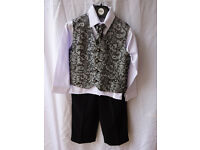Boy's 4-piece wedding outfit, age 2-3, shirt, tie, waistcoat, and trousers, by Vivaki