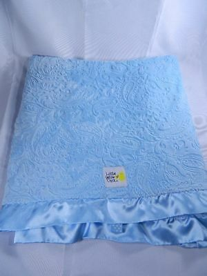 Little Yellow Chick Blue Embossed Baby Blanket Blue Satin Trim