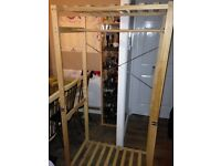 Wardrobe wood frame for storage, clothes, cloakroom