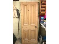 Lovely old pine door with handles and lock. Came out of a Kirkstall house